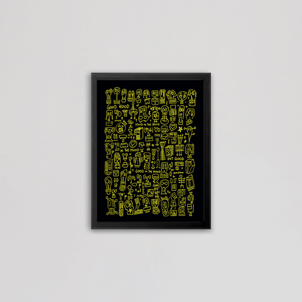 HOOD I Black & Yellow Print by Raul 33 from by Anna Paganelli