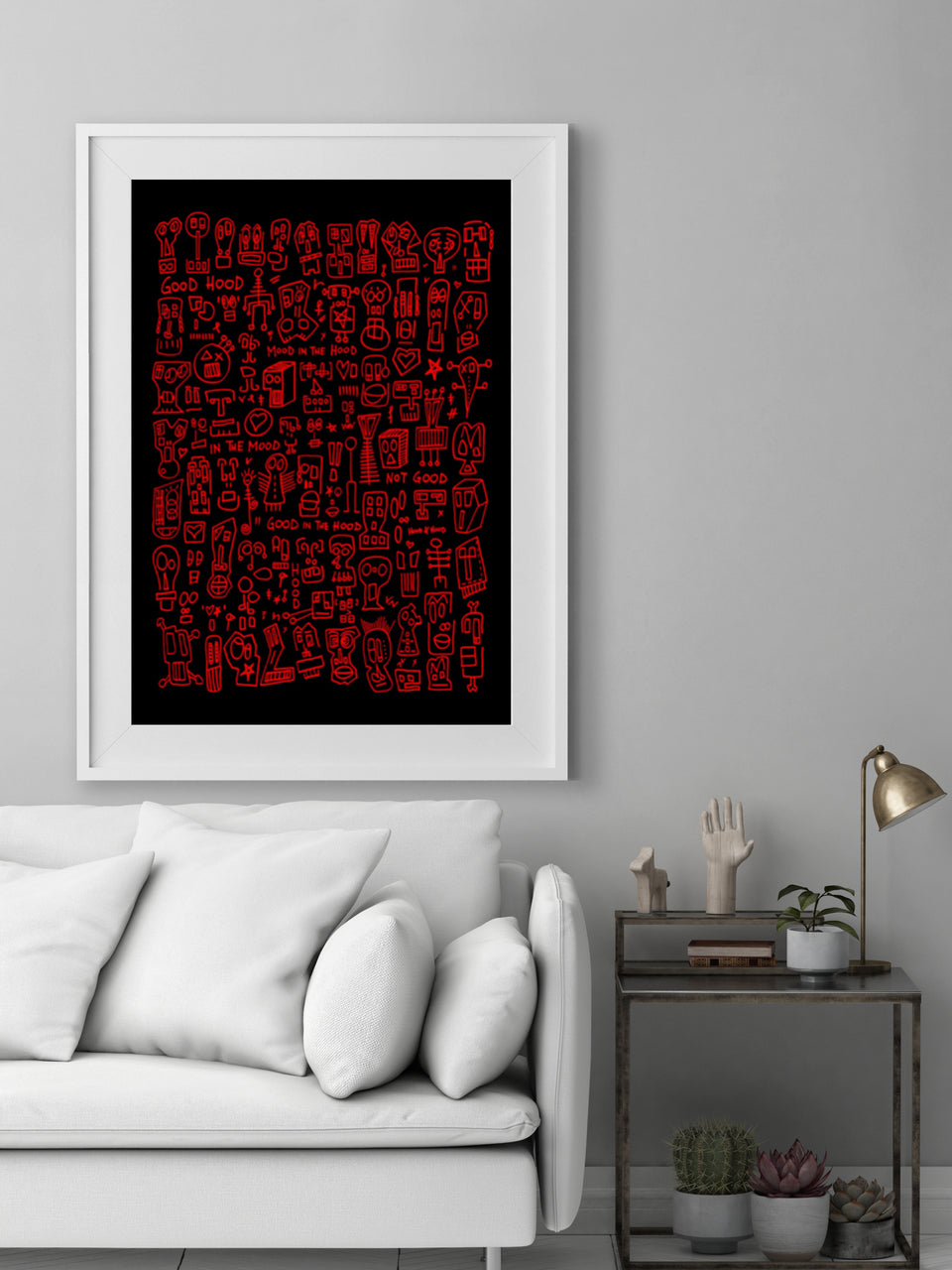 HOOD I Black & Red Print by Raul 33 from Anna Paganelli