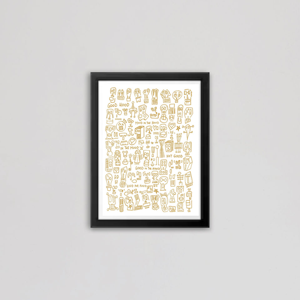 HOOD I White & Gold Print by Raul 33