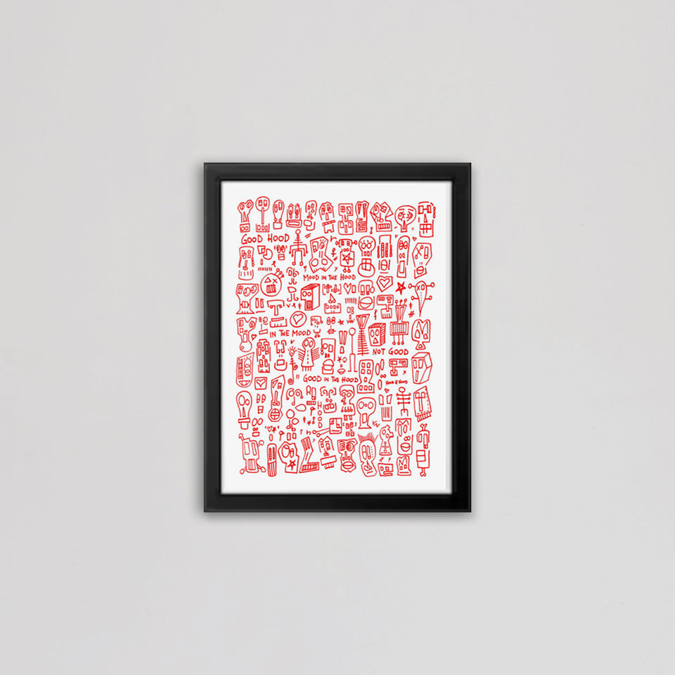 HOOD I White & Red Print by Raul 33