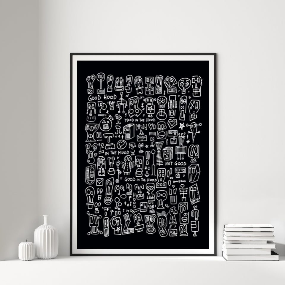 HOOD I Black & White Print by Raul 33 from by Anna Paganelli