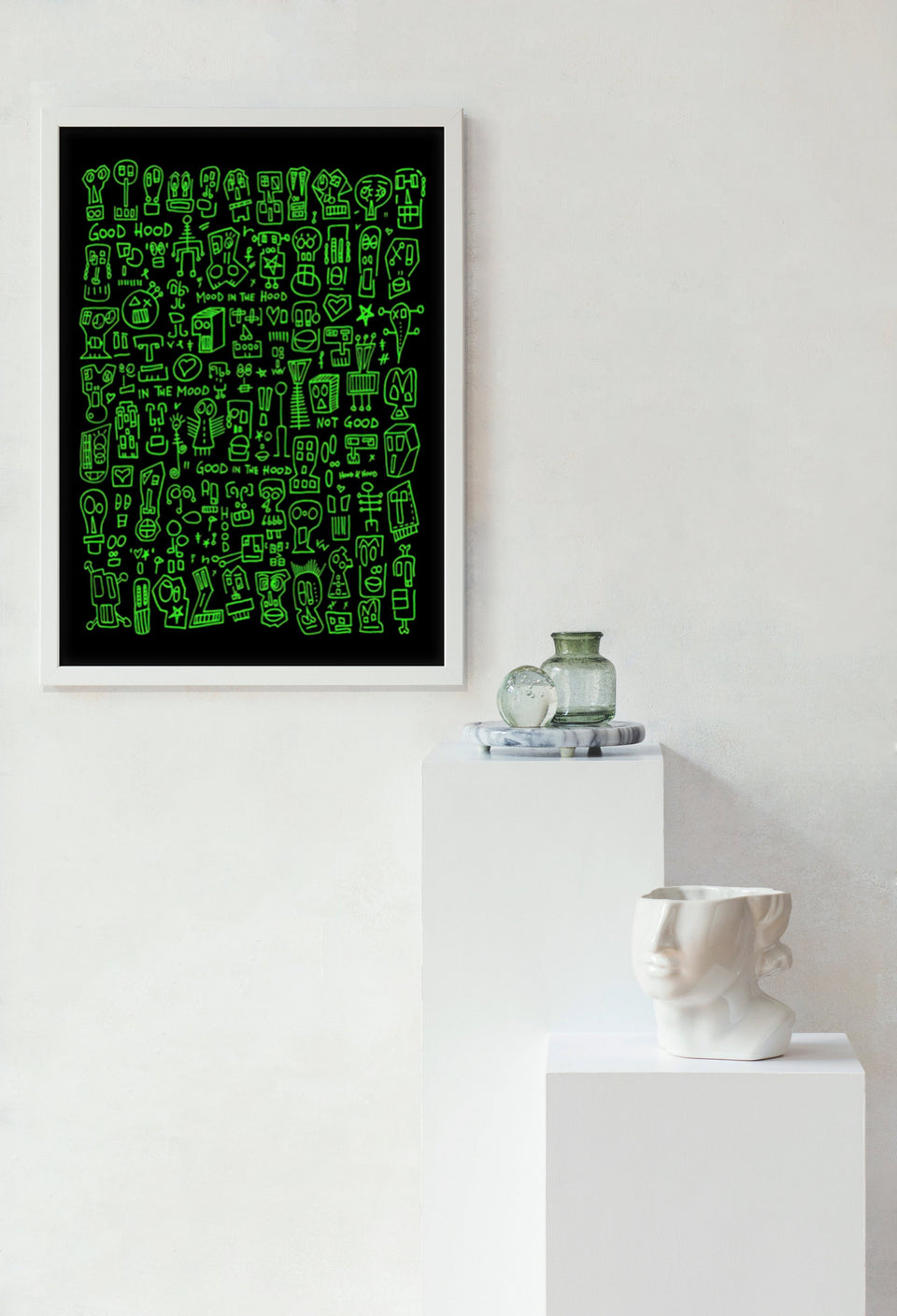 HOOD I Black & Green Print by Raul 33 from by Anna Paganelli