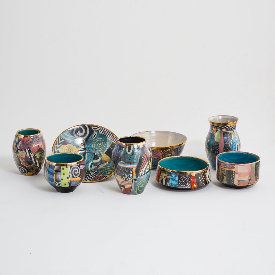 Design Disrupters ceramic multicoloured bowls and vases with gold leaf