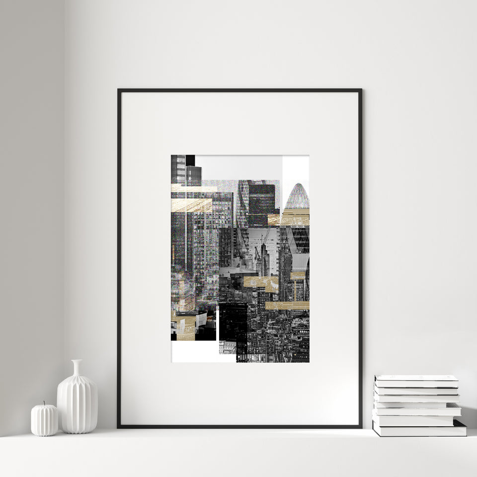London Skyline Gold Glitch Print I No.2