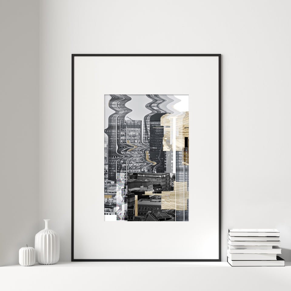 London Skyline Gold Glitch Print I No.1