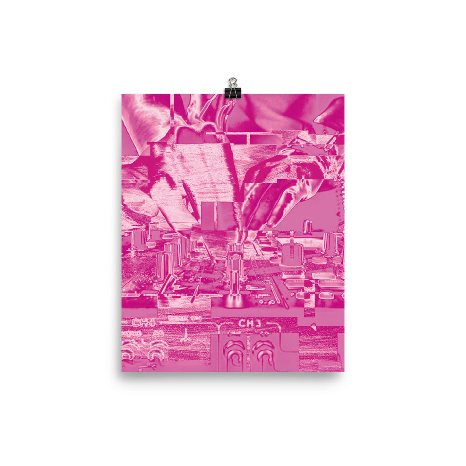 Frequency Bliss I DJ Hands Pink Glitch Print