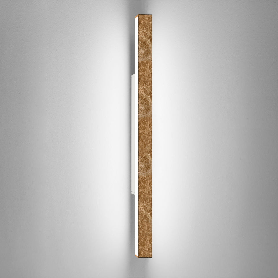 Dalia by Ledevò - A brown Emperador Marble LED Strip Wall Light by Anna Paganelli