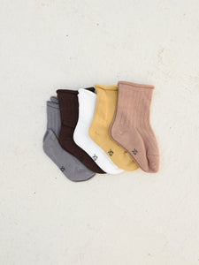 Ribbed Socks Earthy - Pack of 5 Tiny Trove