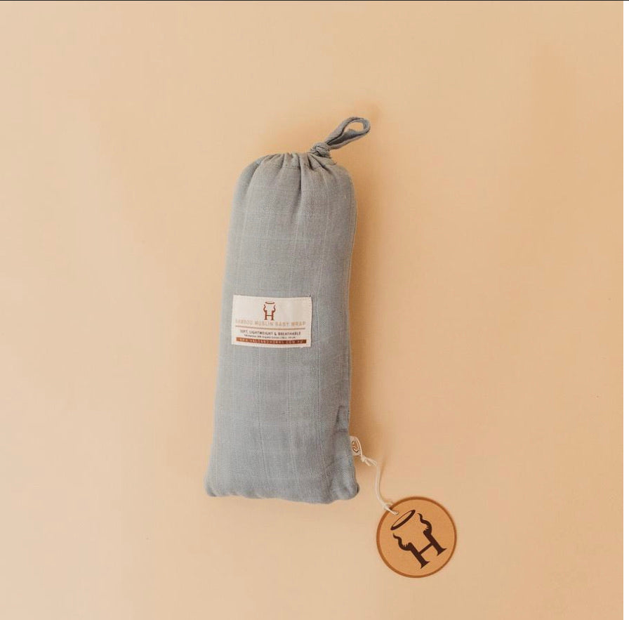 Halo and Horns BABY SWADDLE/WRAP - ORGANIC BAMBOO MUSLIN - ASHLEY BLUE