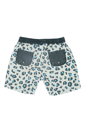 Leopard Walk shorts white and blue Zuttion