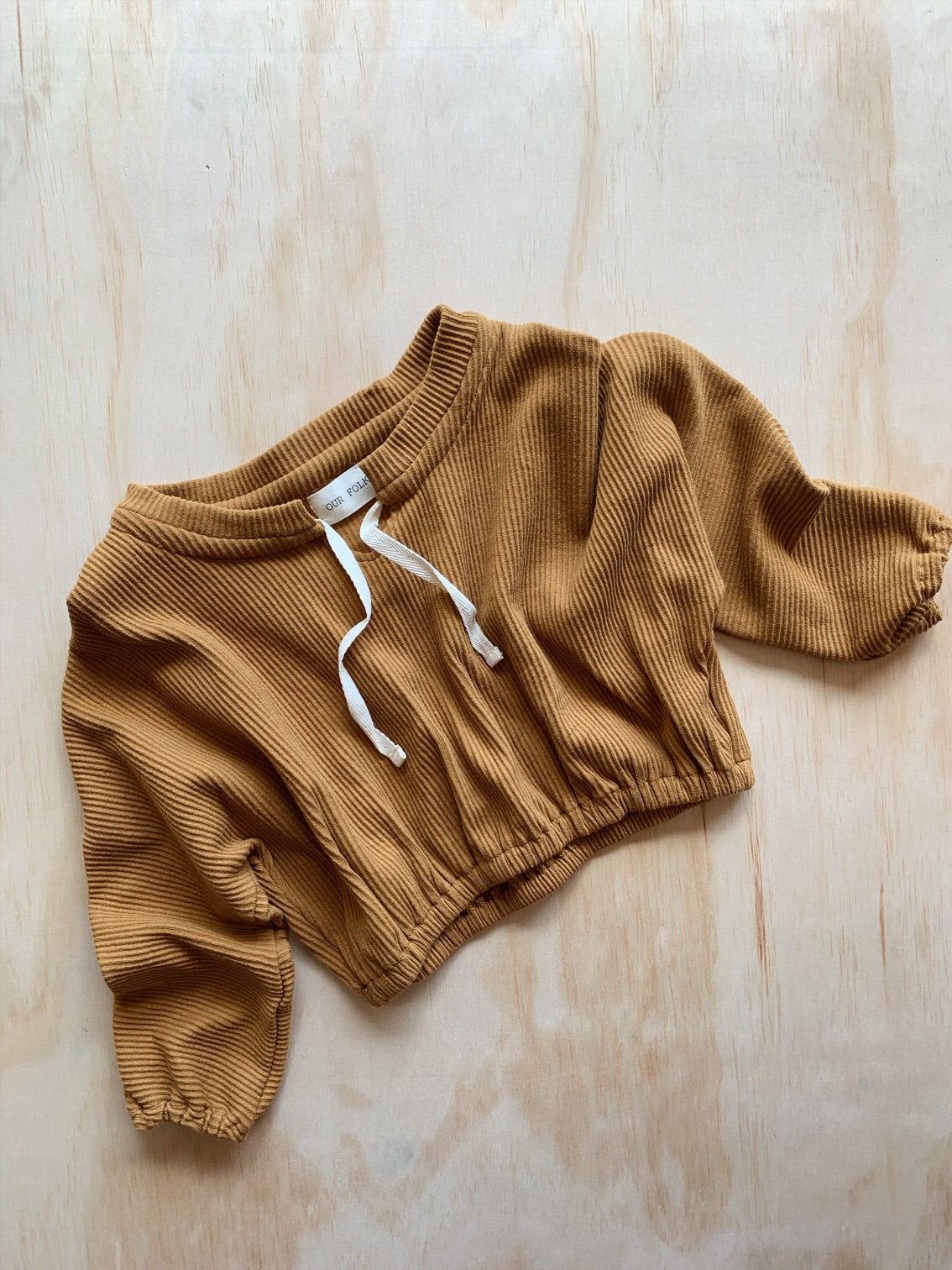Ribbed Drawstring Pull Over Mustard- Our Folk