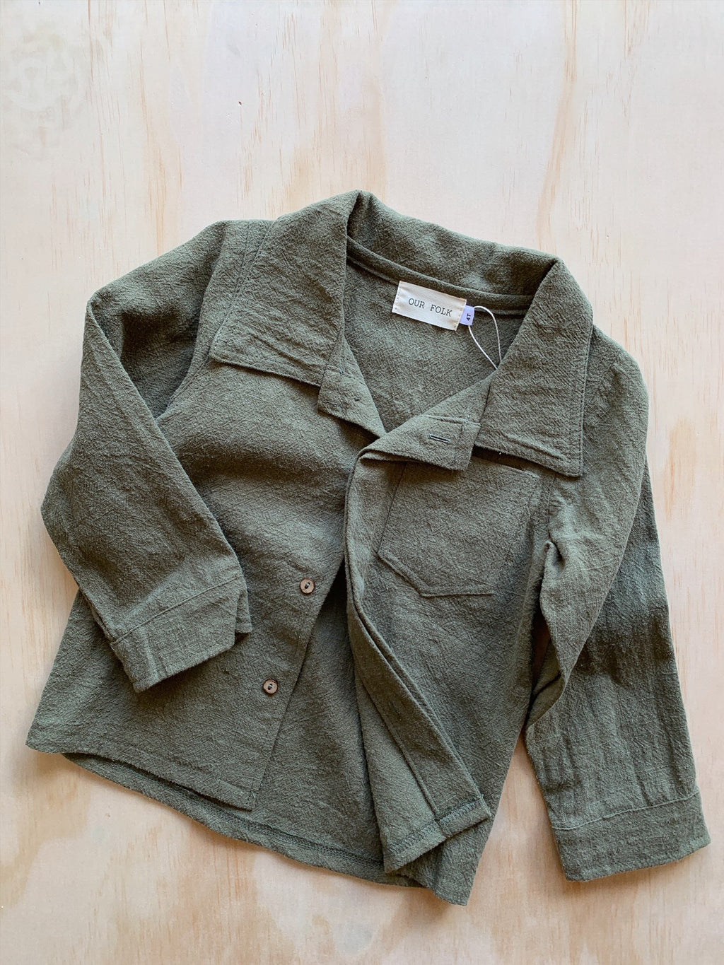 Linen Jacket Olive- Our Folk