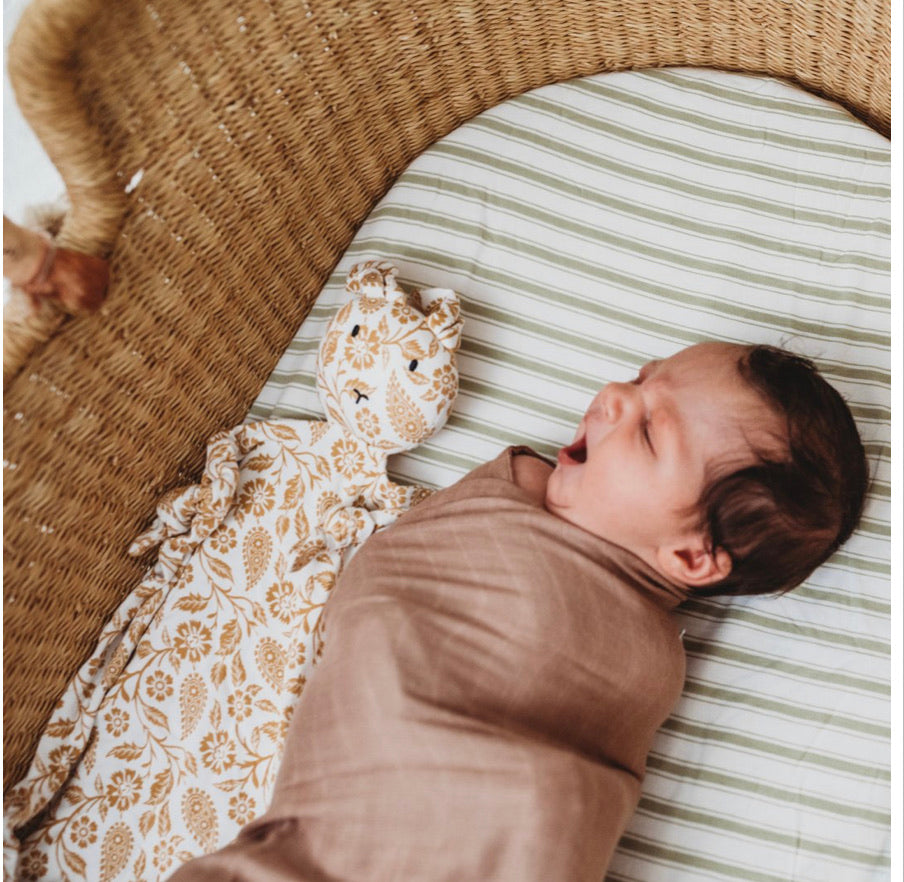 Halo and Horns - BABY SWADDLE/WRAP - ORGANIC BAMBOO MUSLIN - SIROCCO