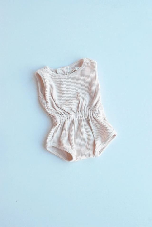 Ribbed Essential Playsuit Vanilla- Luca the Label