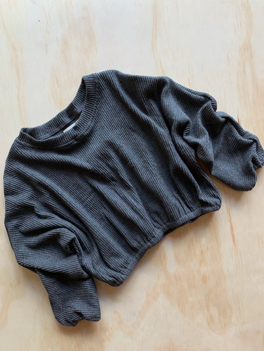 Ribbed Pull Over Charcoal- Our Folk