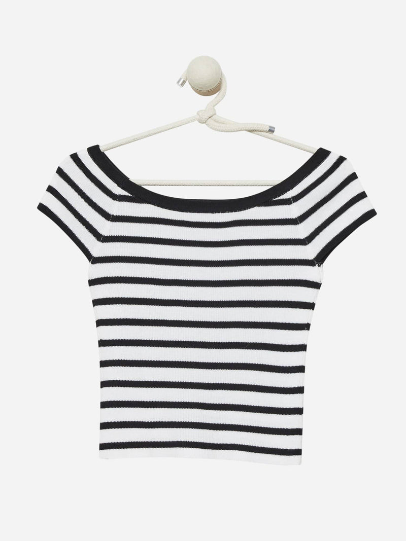 White/Black Stripe - Off Shoulder Top Sweater - Off Shoulder Top Sweater