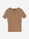 Camel - Crew Neck Short Sleeve Cashmere Sweater - Crew Neck Short Sleeve Cashmere Sweater