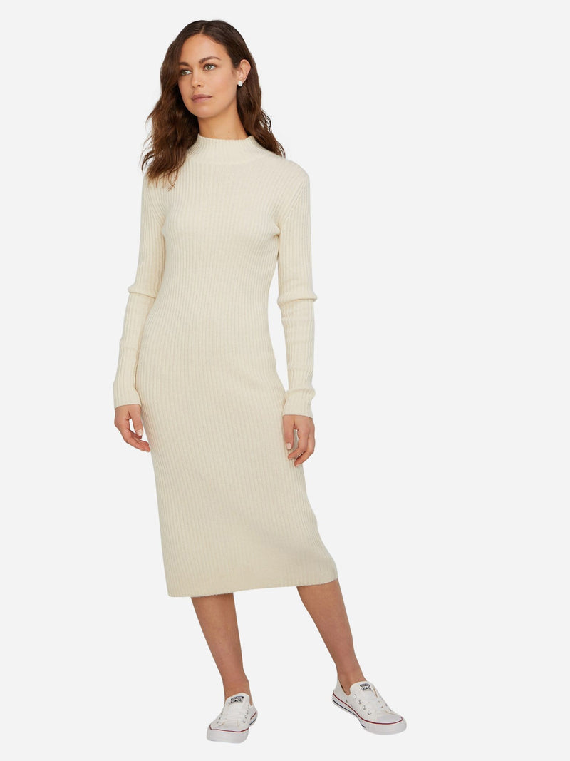 Ivory - Long Sleeve Turtleneck Cashmere Sweater Dress - Long Sleeve Turtleneck Cashmere Sweater Dress