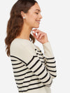 White/Black - Striped Crewneck Cashmere Sweater - Striped Crewneck Cashmere Sweater