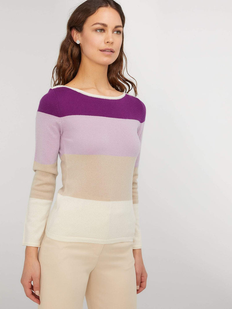 Rose/Doeskin - Boat Neck Striped Panel Cashmere Sweater - Boat Neck Striped Panel Cashmere Sweater