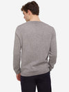 Heather Grey - Men's Crew Neck Long Sleeve Cashmere Sweater - Men's Crew Neck Long Sleeve Cashmere Sweater