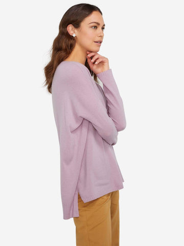 Long Sleeve Crew Neck Cashmere Loungewear Sweater