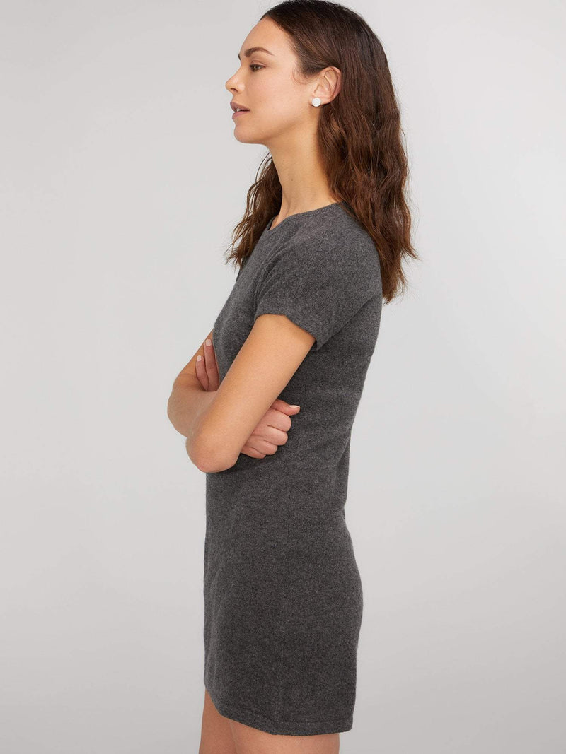 Charcoal - Short Sleeve Cashmere Knit Dress - Short Sleeve Cashmere Knit Dress