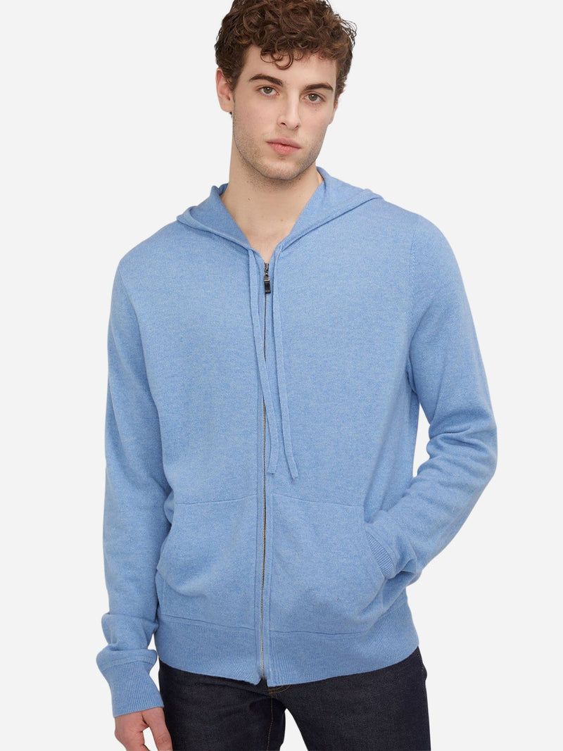 Baby Blue - Men's Zip Cashmere Hoodie with Drawstring - Men's Zip Cashmere Hoodie with Drawstring