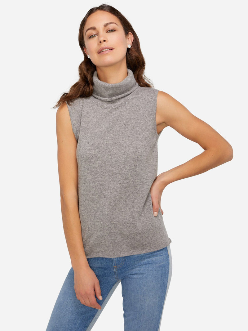 Heather Grey - Sleeveless Turtleneck Cashmere Sweater - Sleeveless Turtleneck Cashmere Sweater