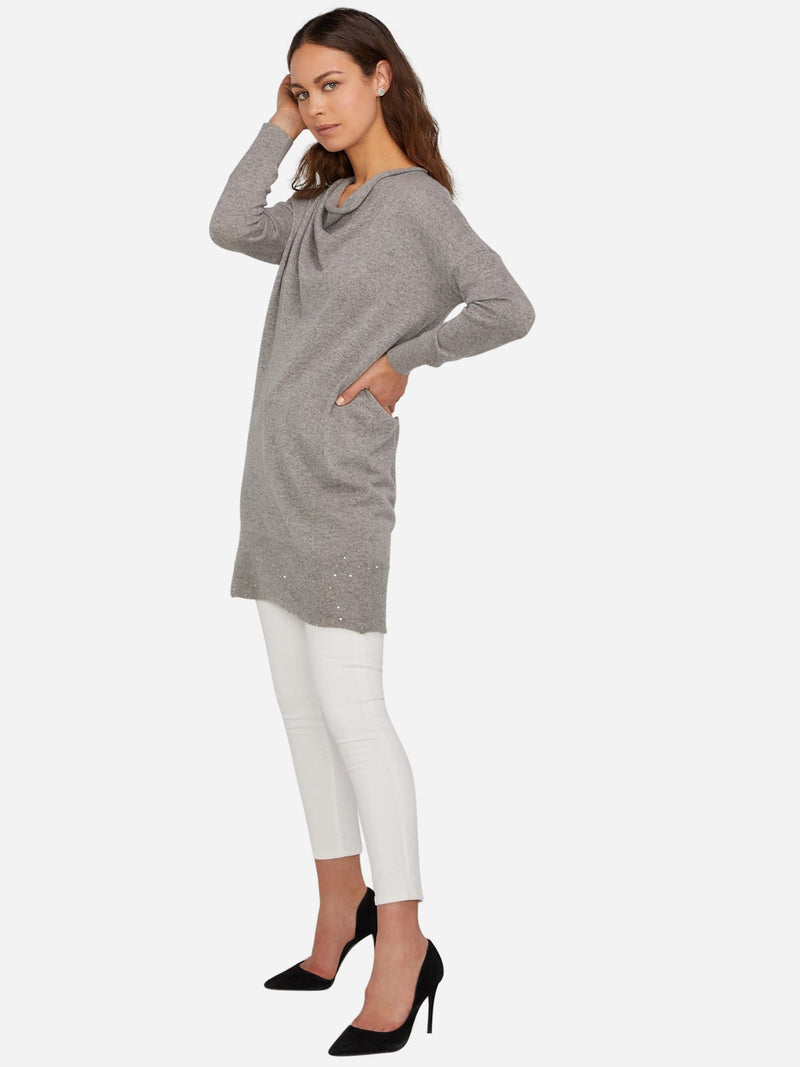 Heather Grey - Long Sleeve Cowl Neck Cashmere Dress - Long Sleeve Cowl Neck Cashmere Dress