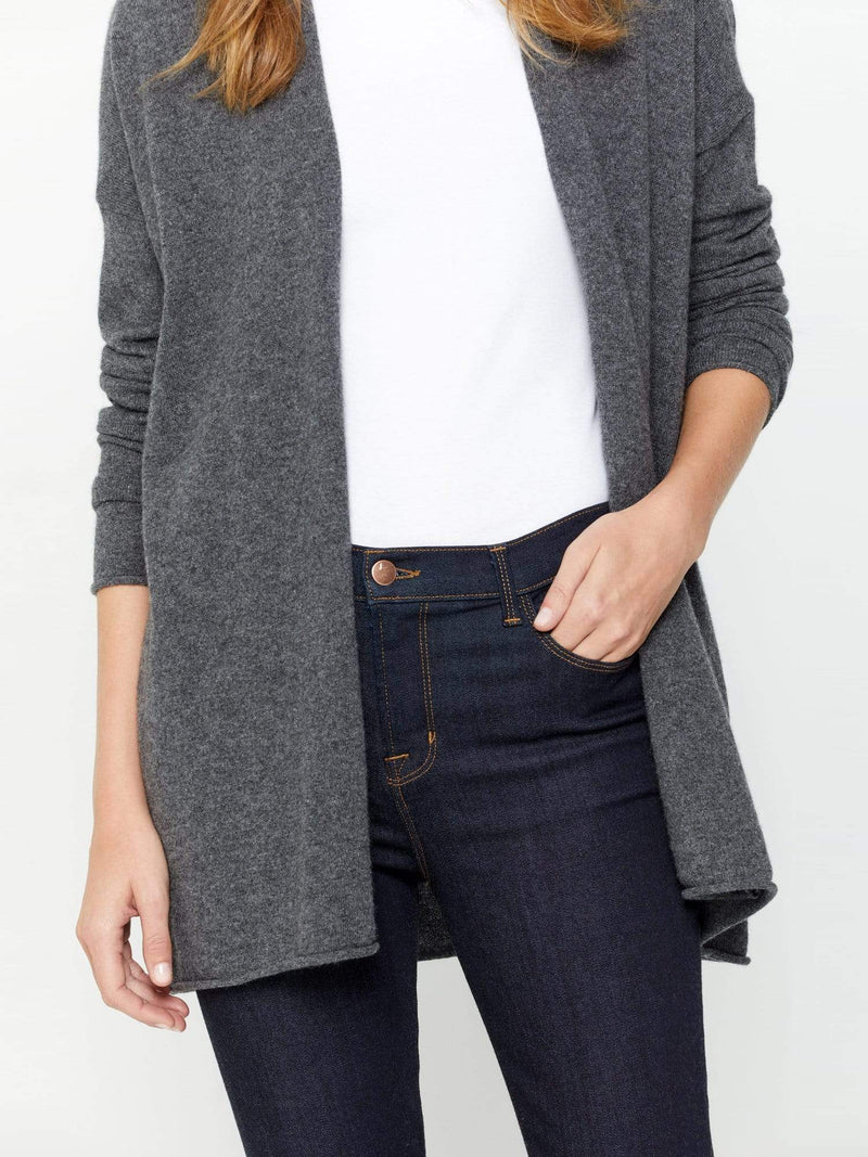Charcoal - Light Open Front Cashmere Cardigan Wrap - Light Open Front Cashmere Cardigan Wrap
