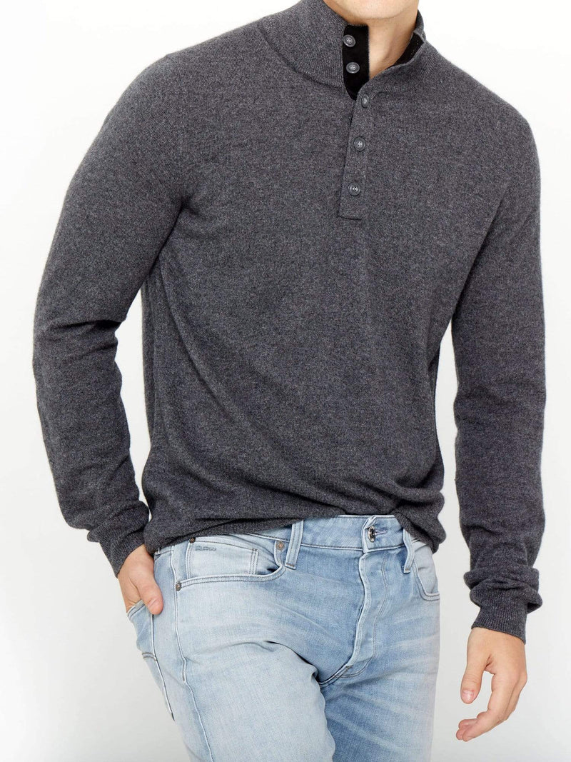 Charcoal - Men's Button Mock-Neck Cashmere Polo Sweater - Men's Button Mock-Neck Cashmere Polo Sweater