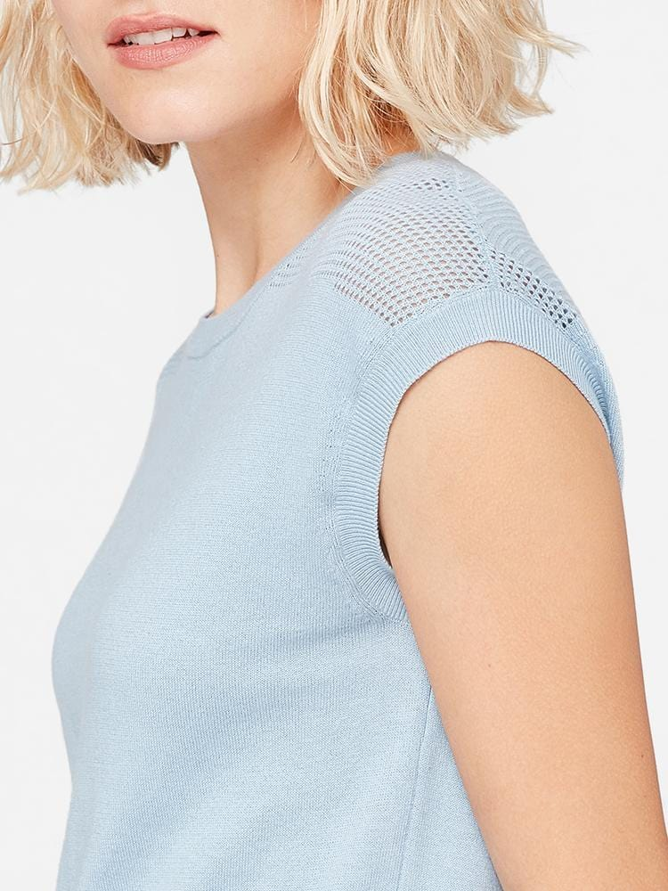 Blue - Round Neck Knitted Pattern Cotton Cashmere T-Shirt - Round Neck Knitted Pattern Cotton Cashmere T-Shirt