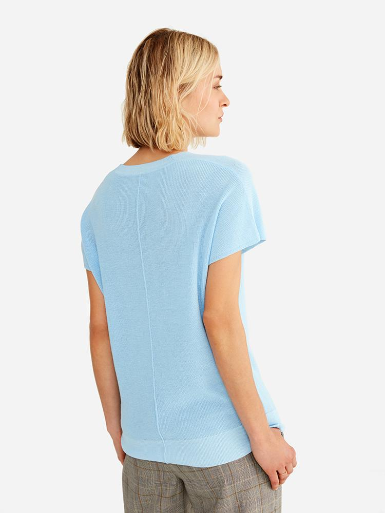 Light Blue - Sheer Short Sleeve Top Sweater - Sheer Short Sleeve Top Sweater