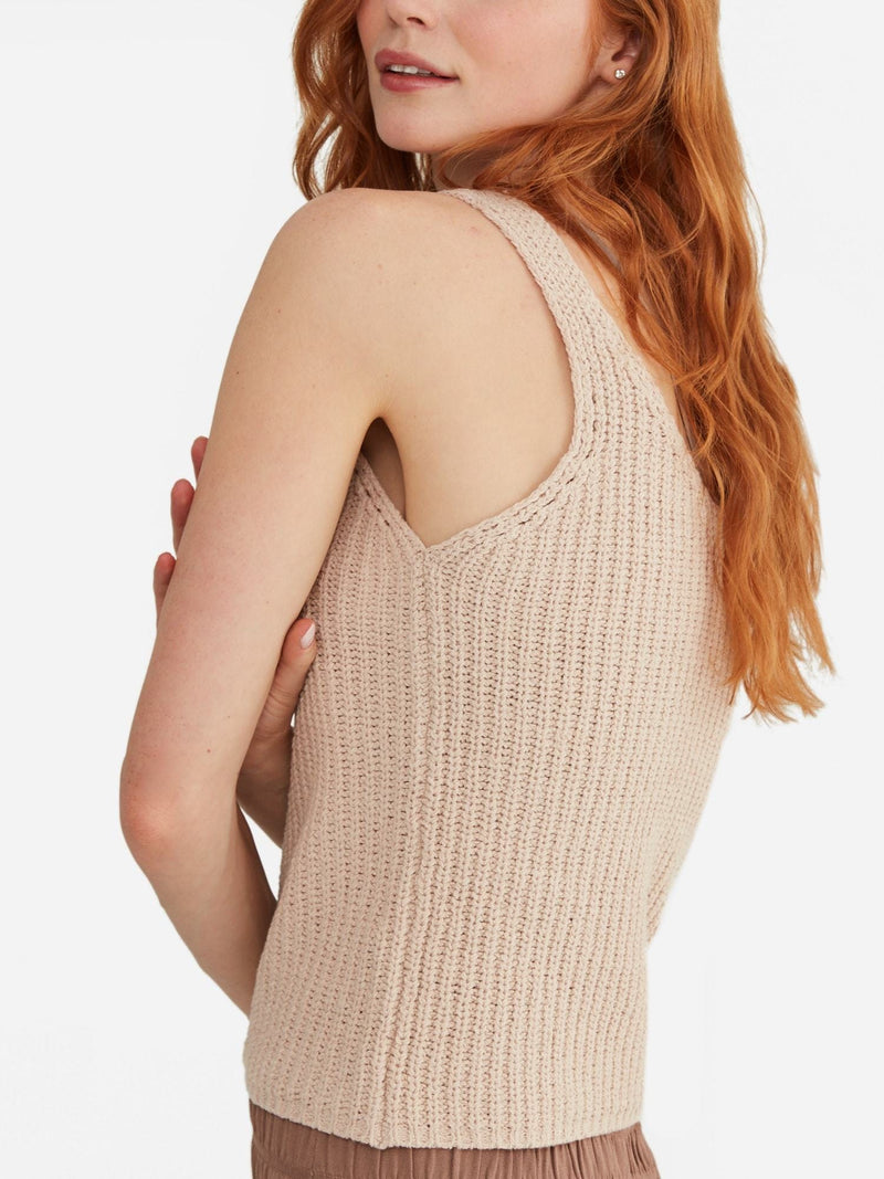 Sand - Cotton Tank Top Sweater - Cotton Tank Top Sweater