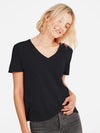 Black - V-Neck Short Sleeve Cotton Top Sweater - V-Neck Short Sleeve Cotton Top Sweater