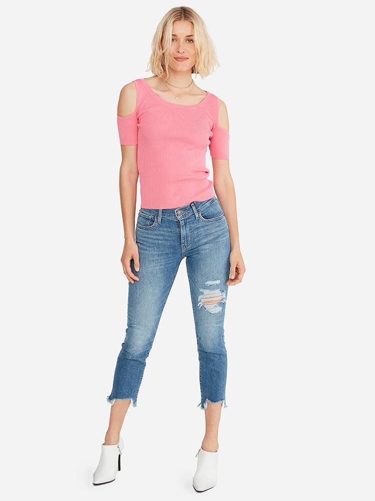 Flamingo - Cutout Shoulder Top Sweater - Cutout Shoulder Top Sweater