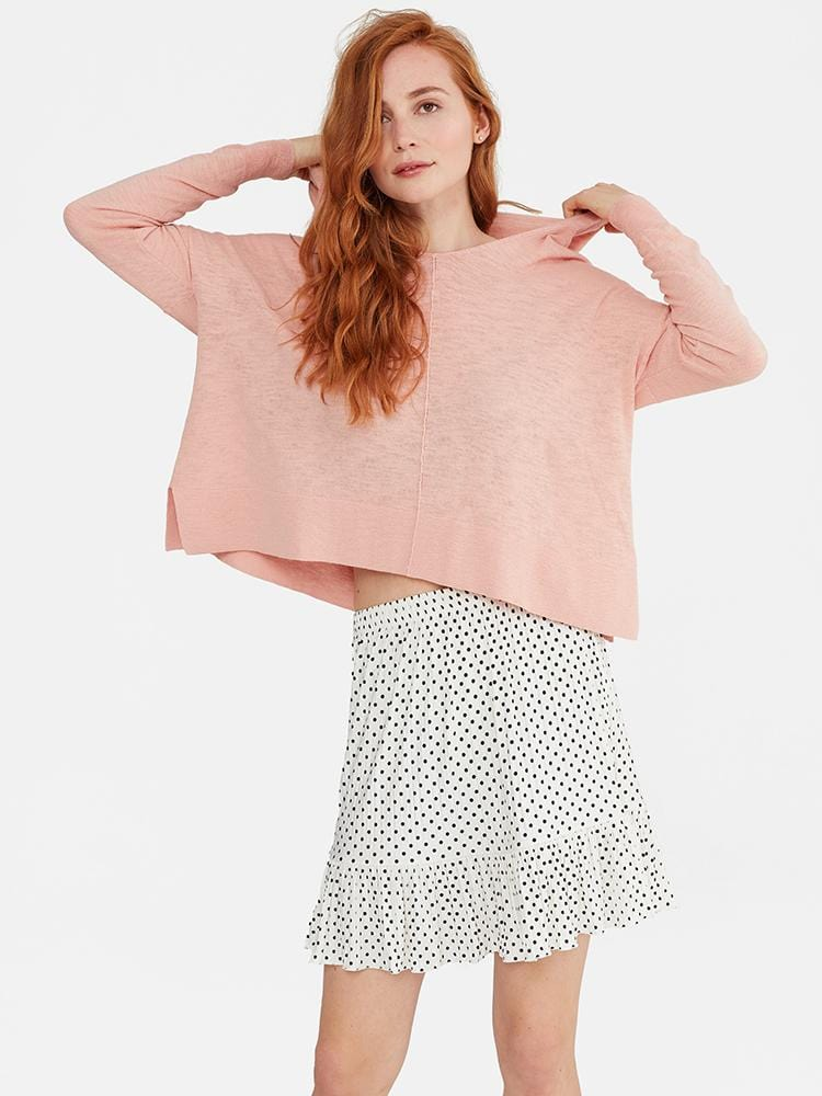 Nude Pink - 100% Cotton Hooded Sheer Crop Sweater - 100% Cotton Hooded Sheer Crop Sweater