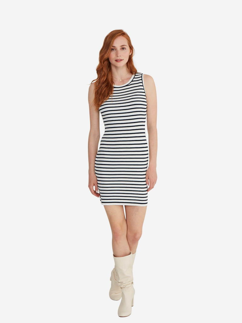Navy Stripe - Bodycon Sweater Dress - Bodycon Sweater Dress