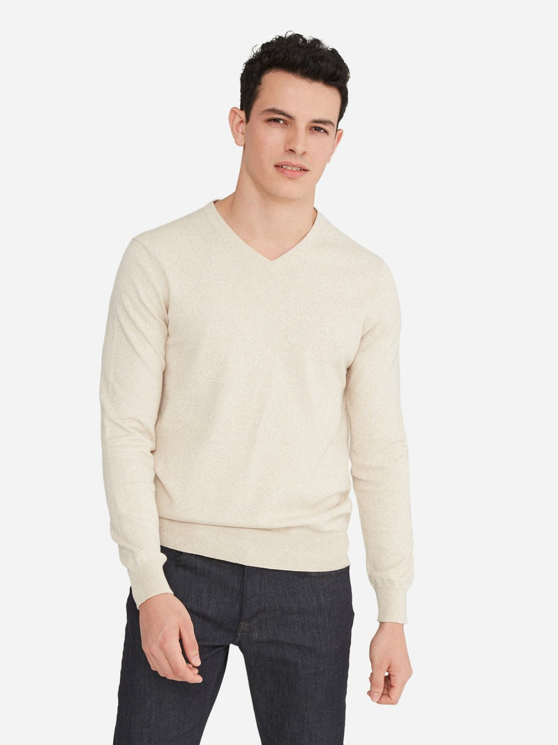 Beige Melange - Cotton Cashmere V-Neck Long Sleeve Sweater - Cotton Cashmere V-Neck Long Sleeve Sweater