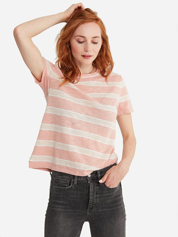 Knot-Front Stripe Top Sweater