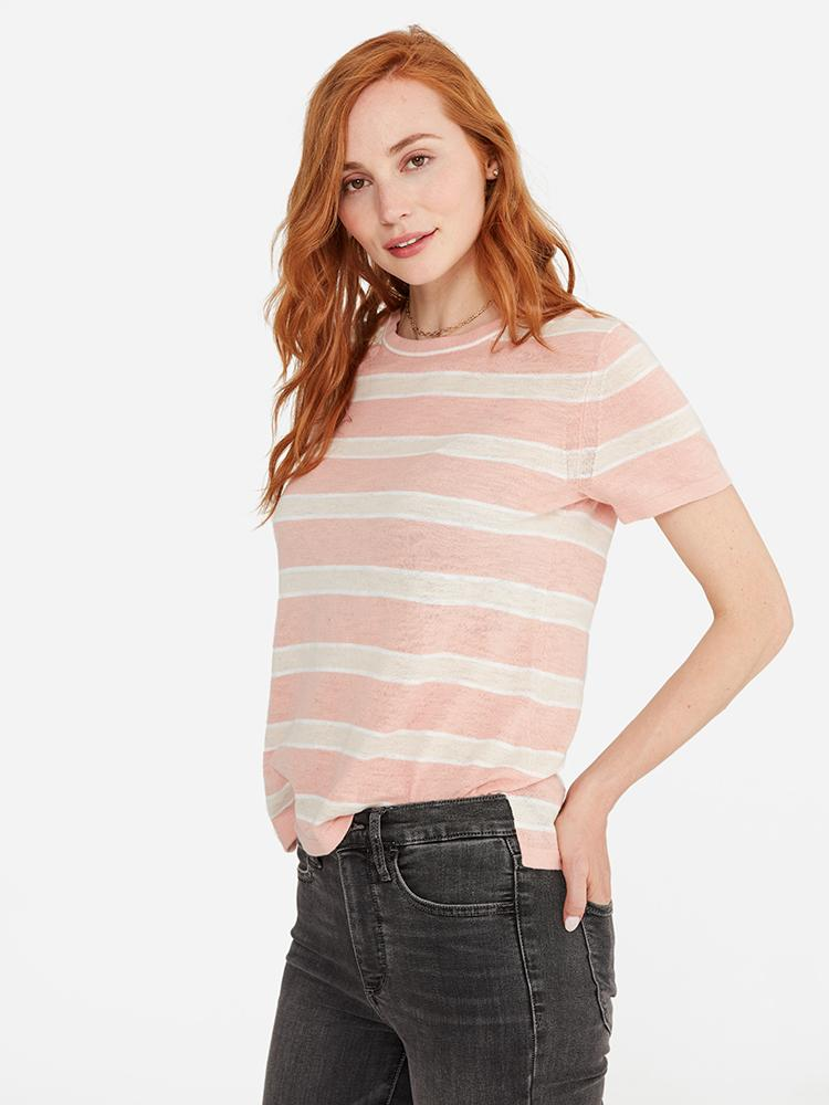 Nude Pink Stripe - 100% Cotton Crew-Neck Short Sleeve Top Sweater - 100% Cotton Crew-Neck Short Sleeve Top Sweater