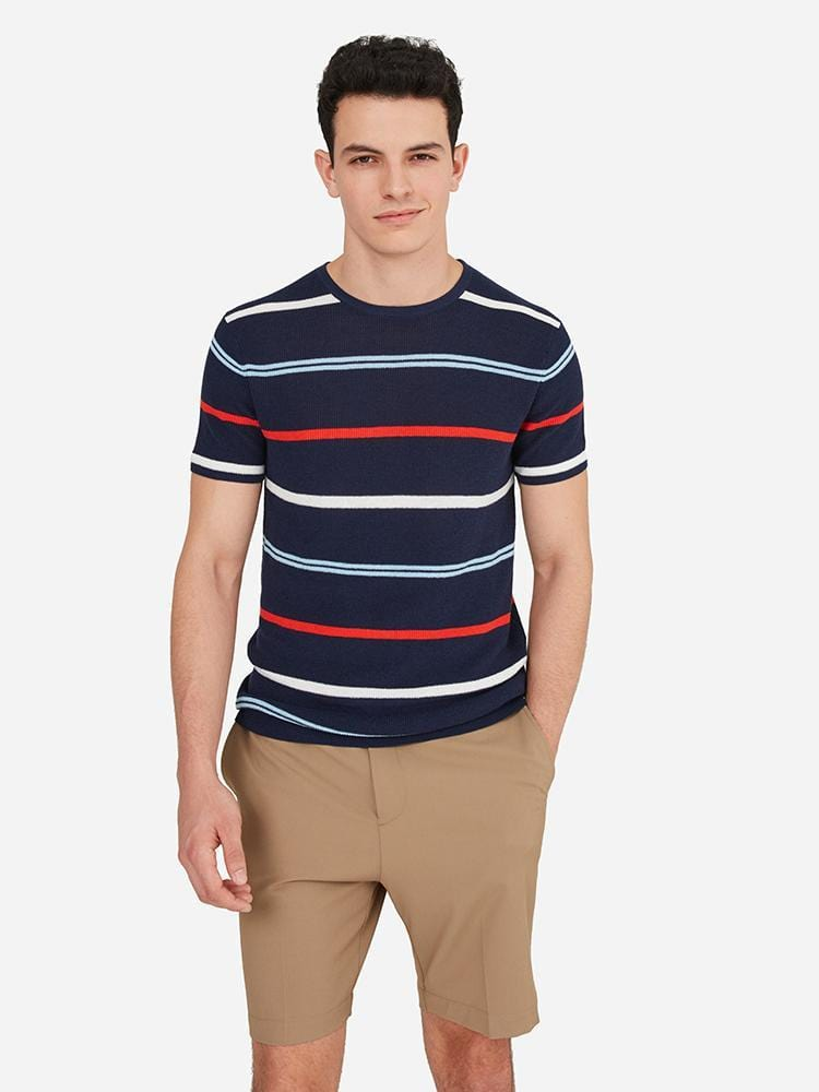 Navy Stripe - Crew Neck Short Sleeve Stripe Top Sweater - Crew Neck Short Sleeve Stripe Top Sweater