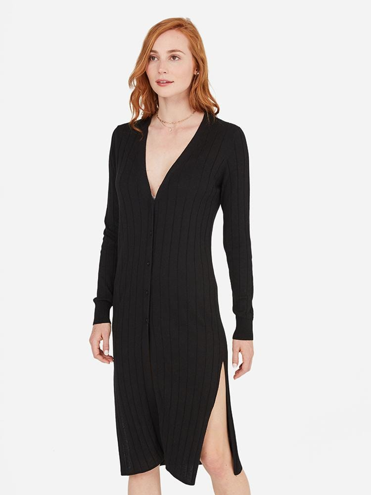 Black - Sheer Cardigan Dress - Sheer Cardigan Dress