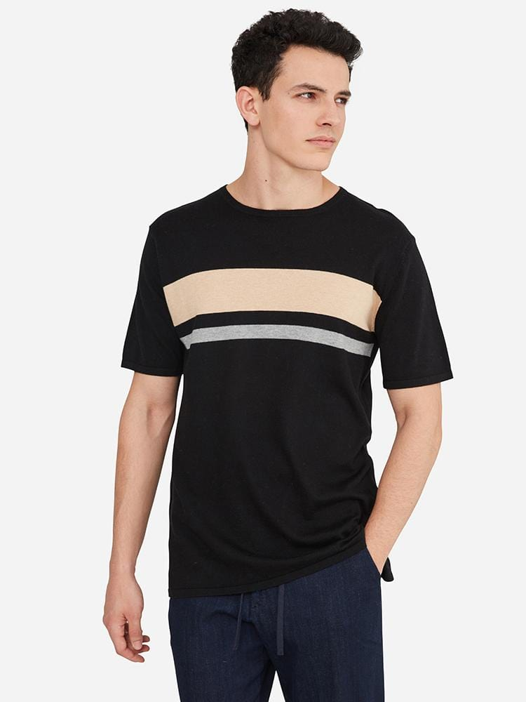 Black/Camel/Grey - Cotton Cashmere Crew Neck Striped T-Shirt - Cotton Cashmere Crew Neck Striped T-Shirt