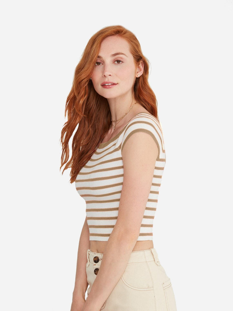 White/Sand Stripe - Off Shoulder Top Sweater - Off Shoulder Top Sweater