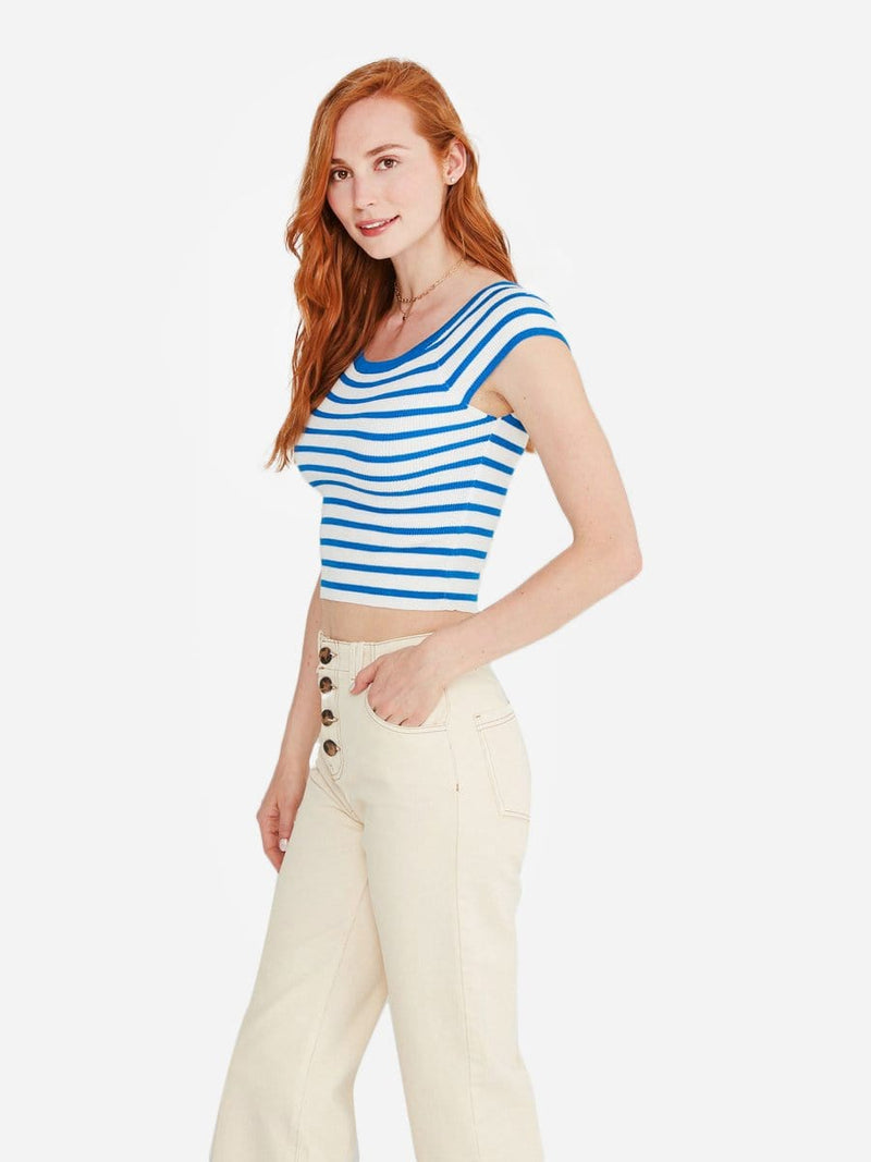 White/Blue Stripe - Off Shoulder Top Sweater - Off Shoulder Top Sweater