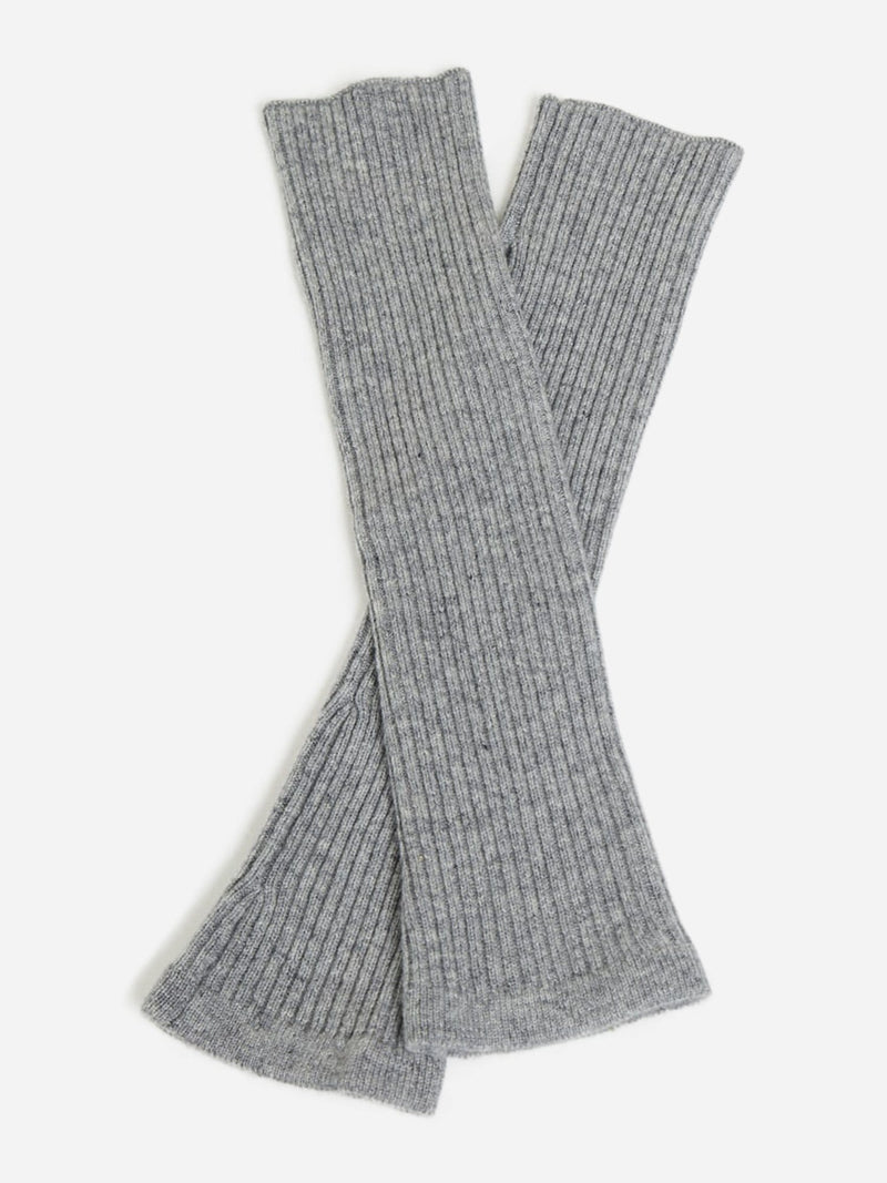 Grey - Cashmere Knit Fingerless Arm Warmer Mitten Gloves - Cashmere Knit Fingerless Arm Warmer Mitten Gloves