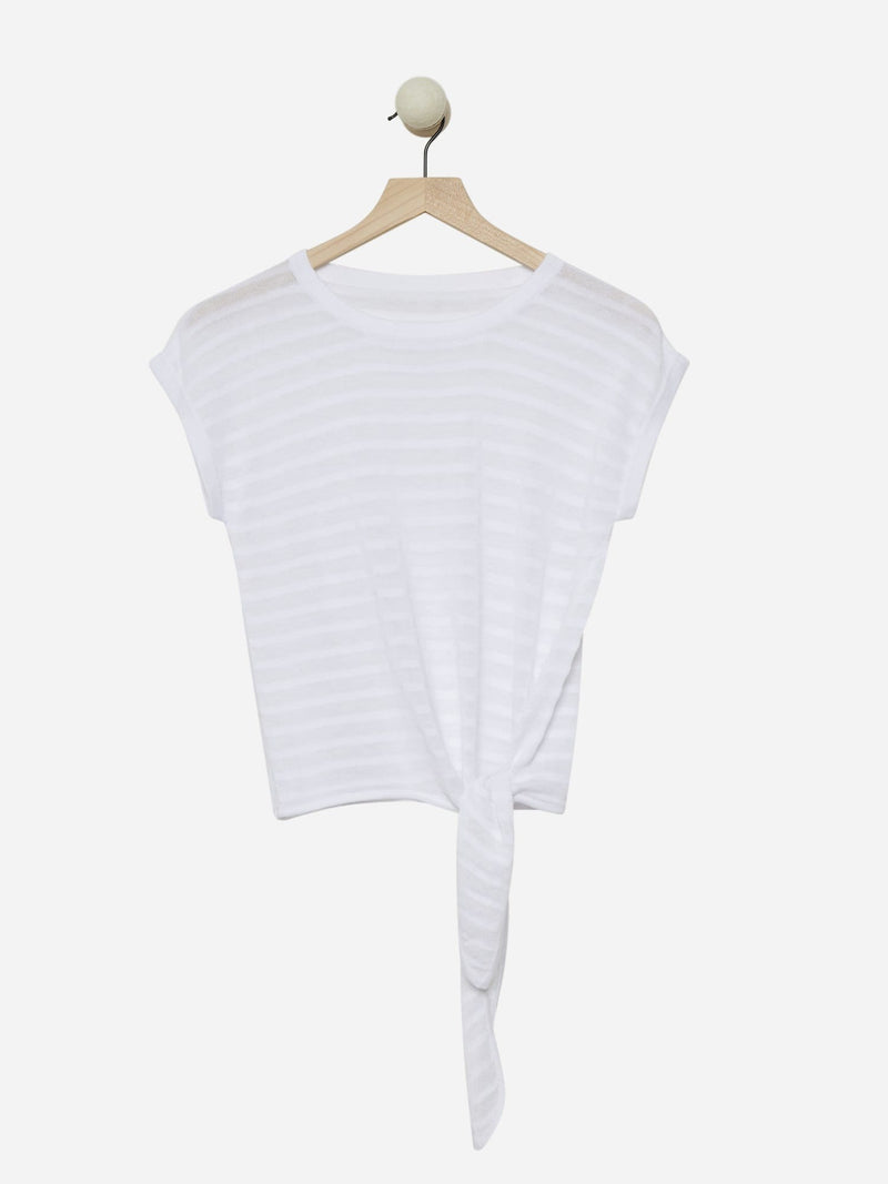 Bright White - Knot-Front Stripe Top Sweater - Knot-Front Stripe Top Sweater