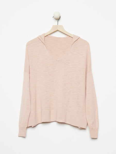 100% Cotton Hooded Sheer Crop Sweater